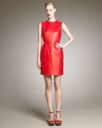Saint Laurent | Red Leather Dress | Lyst