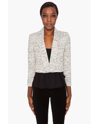 Alice + Olivia | White Amelia Drape Tweed Jacket | Lyst
