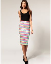 ASOS Collection - Multicolor Asos Pencil Skirt in Rainbow Sequins - Lyst