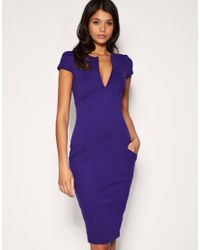 ASOS Collection - Purple Asos Ponti Pencil Dress with Pockets - Lyst