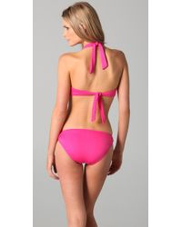 Juicy Couture - Pink Starlet Smocked Halter Bikini Top - Lyst