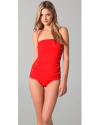 Juicy Couture | Red Miss Divine Bandeau Swim Dress | Lyst