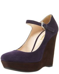 Prada | Blue Two-tone Suede Mary Jane Wedge | Lyst