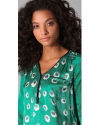 Rebecca Taylor - Green Starflower Print Blouse - Lyst
