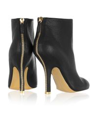 Stella McCartney - Black Zip-trimmed Faux Leather Ankle Boots - Lyst