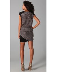 The Addison Story - Gray V-neck Dress with Ruched Skirt - Lyst