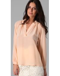 Tucker | Natural Long Sleeve Polo Blouse | Lyst