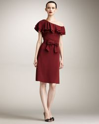Valentino | Brown One-shoulder Tiered Ruffle Dress | Lyst