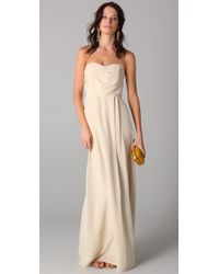 Zimmermann | Natural Strapless Tucked Maxi Dress | Lyst