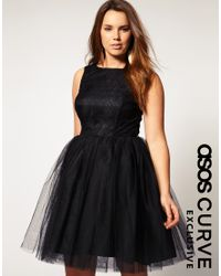 ASOS Collection - Black Asos Curve Exclusive Lace Dress with Mesh Skirt - Lyst