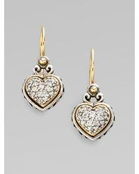 Konstantino - Metallic Sterling Silver & 18k Gold Diamond Heart Earrings - Lyst