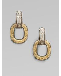 Konstantino - Metallic Sterling Silver & 18k Gold Diamond Link Earrings - Lyst