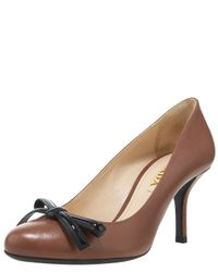 Prada - Gray Leather & Patent Bow Pumps - Lyst