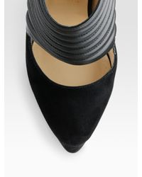Christian Louboutin | Black Bye Bye Leather and Suede Cutout Ankle Boots | Lyst