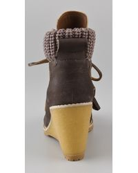 See By Chloé - Brown Wedge Wallabee Booties - Lyst