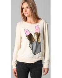 Wildfox - White Beach Sweatshirt with Brigitte Lipstick Graphic - Lyst