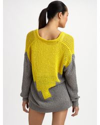 Alexander Wang - Yellow Hand-knit Intarsia Sweater - Lyst