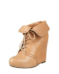 Elizabeth and James - Brown Lace-up Cuffable Wedge Boot - Lyst
