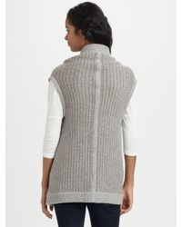 James Perse | Brown Sleeveless Wool-rich Sweater Cardigan | Lyst