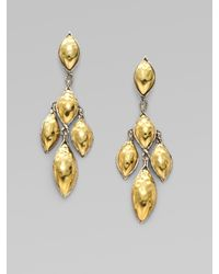 John Hardy | Metallic Leaf 22karat Gold and Sterling Silver Earrings | Lyst