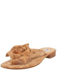 Manolo Blahnik | Natural Patricia Flecked Cork Flower Thong Sandal | Lyst