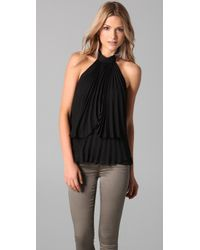 Parker | Black Pleated Halter Top | Lyst