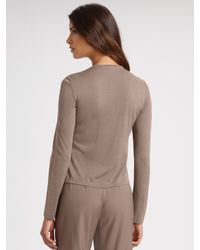 St. John | Brown Floral Wool Cardigan | Lyst