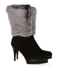 Stuart Weitzman | Black Faux Fur Suede Calf Boots | Lyst