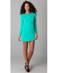 Tibi | Green Long Sleeve Shift Dress | Lyst
