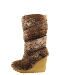 Tory Burch | Brown Kiki Shearling Wedge Boot | Lyst