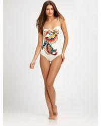 Tory Burch - White Wildflower One-piece Bandeau Swimsuit - Lyst