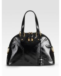 Saint Laurent | Black Patent Leather Muse Bag | Lyst