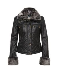 Belstaff | Black New Greenford Blouson Lady Rex Fur Jacket | Lyst