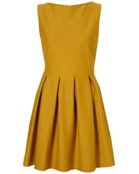 TOPSHOP | Yellow Structured Sleeveless Skater Dress | Lyst