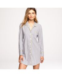 J.Crew | Blue Nightshirt in End-on-end Stripe Cotton | Lyst
