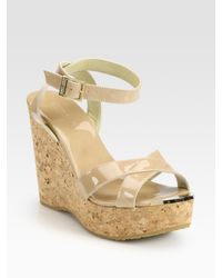 Jimmy Choo | Natural Papyrus Patent Leather And Cork Wedge Sandals | Lyst