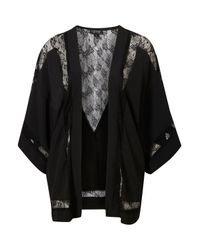 TOPSHOP | Black Lace Insert Kimono | Lyst