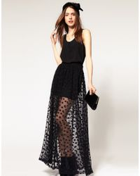 ASOS Collection | Black Asos Maxi Skirt in Mesh Spot | Lyst