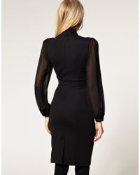 ASOS Collection - Asos Petite Exclusive 40s Tailored Dress with Chiffon Sleeve and Pussybow - Lyst