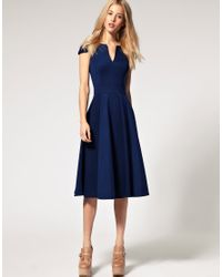 ASOS Collection - Blue Asos Fit and Flare Midi Dress with V Neck - Lyst