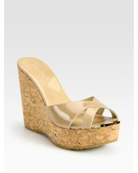 Jimmy Choo - Natural Perfume 120 Patent Leather And Cork Wedge Sandals - Lyst
