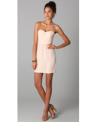 Rebecca Taylor | Pink Ruched Strapless Dress | Lyst