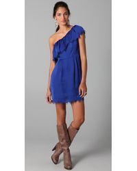 Rebecca Taylor | Blue Eyelash One Shoulder Dress | Lyst
