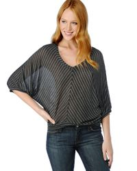 Splendid | Gray Lurex Pin Stripe Dolman Top | Lyst