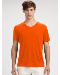 VINCE | Orange Cotton V-neck Tee for Men | Lyst