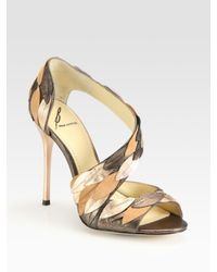 B Brian Atwood | Lunetta Metallic Leather & Suede Leaf Sandals | Lyst