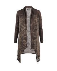 AllSaints | Brown Reflection Long Cardigan | Lyst