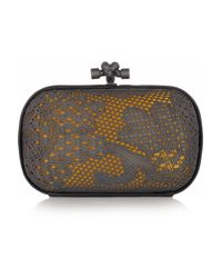 Bottega Veneta | Black Lace-effect Metal and Snakeskin Knot Clutch | Lyst