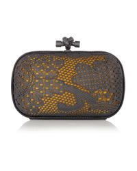 Bottega Veneta | Gold Lace-effect Metal and Snakeskin Knot Clutch | Lyst