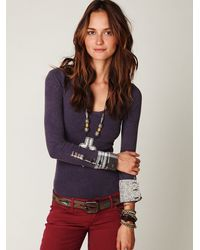 Free People | Purple We The Free Lou Flannel Cuff Thermal | Lyst